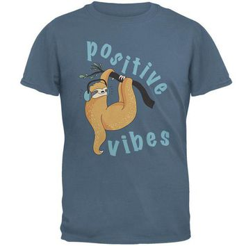 LMFCY8 Sloth Positive Good Vibes Mens T Shirt