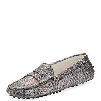 Tods Gommini Metallic Scratch Leather Penny Loafer
