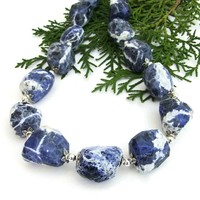 Blue Sodalite Gemstone Necklace, Elegant Artisan Handmade Jewelry