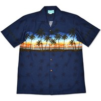 sunrise navy hawaiian border shirt
