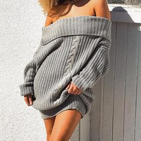 Tricot off shoulder loose dress women Knitting oversized sweater dress new casual pullovers dress