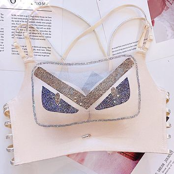 FENDI Summer Newest Hot Sale Women Sexy Luxury Shiny Diamond Bra Beige White