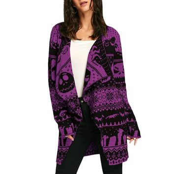 Skull Knit Cardigan Women Long Sweater coat warm Knitted Outwear
