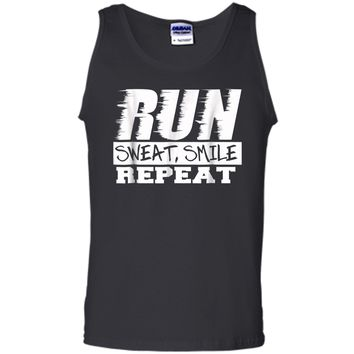 Running Shirt Fitness Motivation Run Sweat Smile Repeat Tank Top