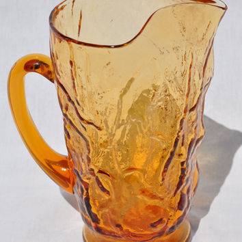 Vintage Amber Driftwood Pitcher Made by Seneca Glass Company 1950s 32oz