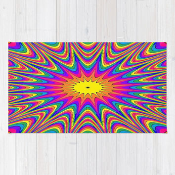 Happy Rainbow Striped Star Burst #2 Area & Throw Rug by 2sweet4words Designs | Society6