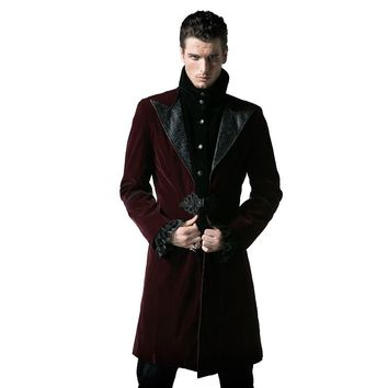 Trendy Gothic Court Fashion Men's Long Duster Coat Steampunk Autumn Winter High Collar Corduroy Jacket Thick Windbreakers AT_94_13