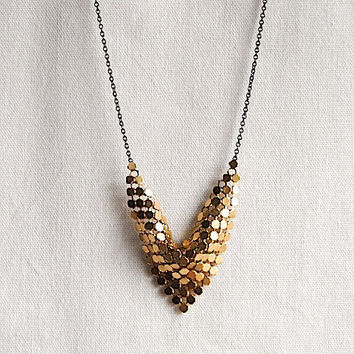 Gold Bib Necklace with Reclaimed Vintage Metal Mesh by SPARKLEFARM