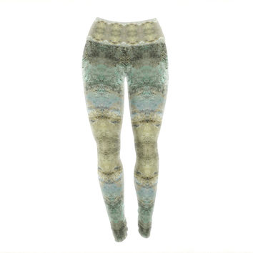 "Pia Schenider ""Heavenly Abstractation"" Gold Green Yoga Leggings"