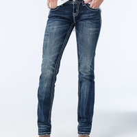 Miss Me Panel Womens Straight Fit Jeans Dark Blue  In Sizes