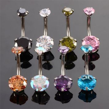 Surgical Stainless Steel Zircon Navel Piercing Bloem Belly Button Rings Belly Button Jewelry Summer Belly Rings Body Piercing
