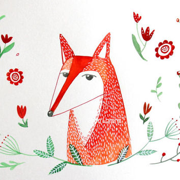 Red Fox nursery wall art, child's room decor.