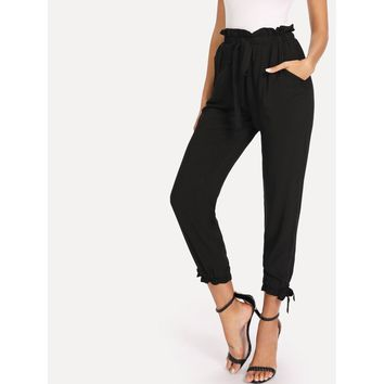 Nadia Drawstring Pants - Black