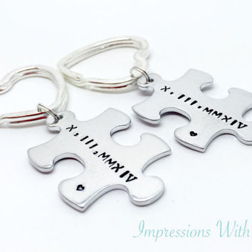 Interlocking jigsaw pieces - hand stamped keychain - keyring - Roman numerals - puzzle pieces - anniversary gift