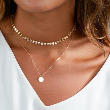Selling jewelry hand chain necklace fashion simple necklace ladies layered necklace