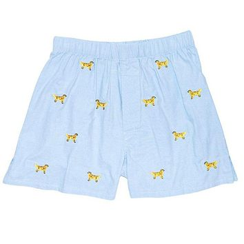 Barefoot Boxer in Blue Oxford with Embroidered Golden Retriever by Castaway Clothing - FINAL SALE