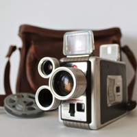 Vintage Kodak Brownie movie camera and Leather Bag