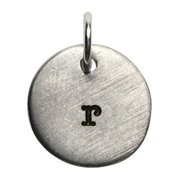 Hand Stamped Initial Charm  - Silver Pewter - Any Initial