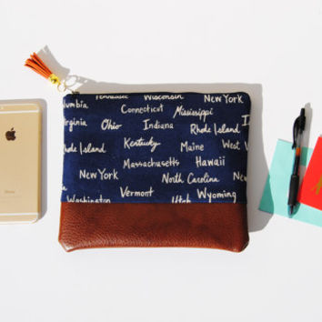 LINEN ZIPPER POUCH, fabric and leather bag, everyday casual clutch, state print pouch, cute unique clutch bag