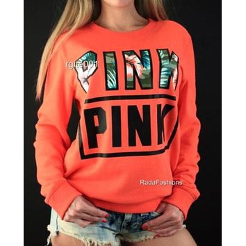 """Pink"" Victoria's Secret Letter Print Long Sleeve Pullover Top Sweater Red orange"