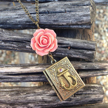 Anchor Book Locket with Pink Rose Cabochon Necklace