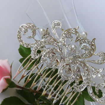 """Crystals and Pearls Bridal Hair Comb """"The Power of Love"""", Wedding Hair Pieces, Rhinestone Combs, Wedding Hair Accessories, Bridal Headpieces"""