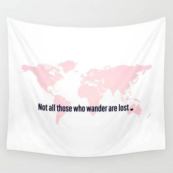 Wall Tapestry, World Map Tapestry Wall Hanging, Inspirational Wall Art, Wall Decor, Not All Those Who Wander Are Lost, Inspirational Quote