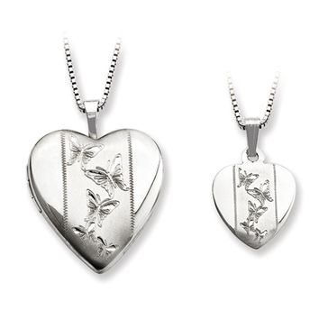 925 Sterling Silver Butterfly Interior Mother Daughter Necklace Set