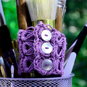 Violet Crocheted Bracelet, Broomstick Lace Cuff