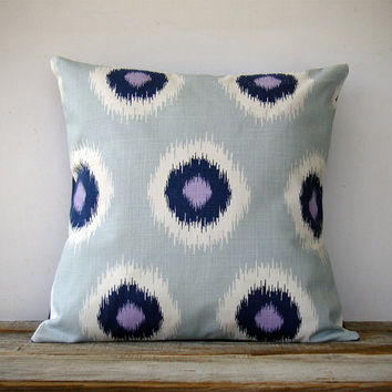 16in DECORATIVE PILLOW Ikat Dot Print - Mint, Navy, White and Lavender - Modern Spring Home Decor - Geometric Pattern