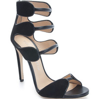 Black Suede and Calf Larkspur Sandal