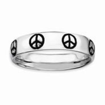 Sterling Silver Polished Enameled Peace Sign Ring