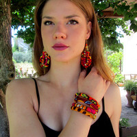 African Print  Earrings - Orange Earrings and  Bracelet Set
