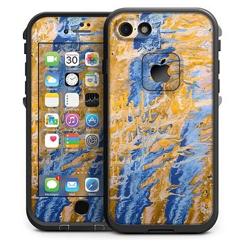 Abstract Wet Paint Blue and Gold Tilt - iPhone 7 LifeProof Fre Case Skin Kit