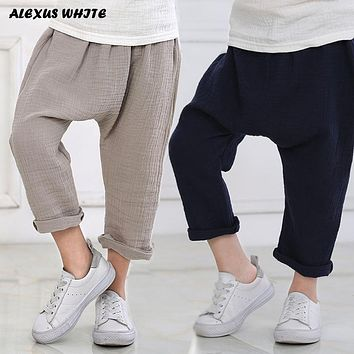 2-7y  Summer Solid Color Linen Pleated Children Knee-length Pants for Baby Boys Girls Pants Harem Pants for Kids Child