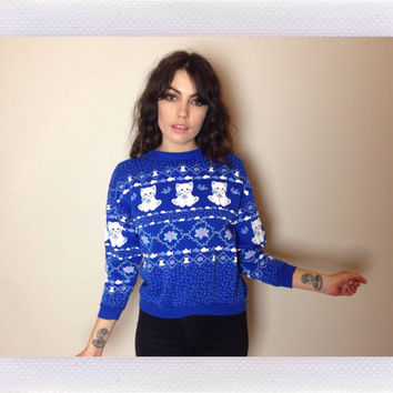 90's KITTY SWEATSHIRT - fish, mice, paws and floral print - blue and white - cropped - small