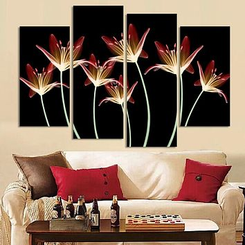 4 Pcs Lily Tracery wall painting Flower Canvas Painting Home Decoration Pictures Wall Pictures For Living Room Modular Pictures