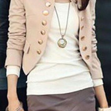 Stand-Up Collar Long Sleeve Slim Blazer