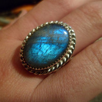 Authentic Navajo,Native American Southwestern sterling silver Labradorite ring. Size 9 1/2.Can be adjusted.