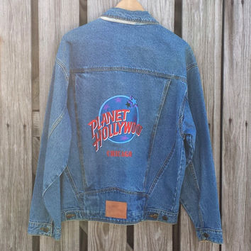 Vintage Planet Hollywood Chicago Men's Denim Jacket - Sz M