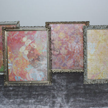 Set of four vintage gold ornate metal 8x10 picture frames - Antique picture frames, gold decor, wedding frames, table numbers