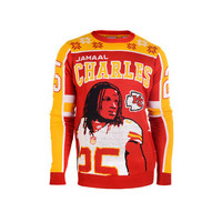 "KANSAS CITY CHIEFS JAMAAL CHARLES OFFICIAL NFL ""UGLY SWEATER"" BY KLEW"