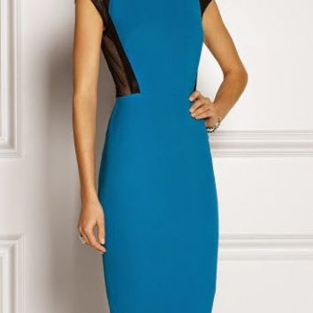 Posh Girl Blue Bandage Sheer Sides Dress