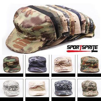 Mens Women Camo Baseball Cap Flat Hunting Hiking Cap Sports Causal Military Hat