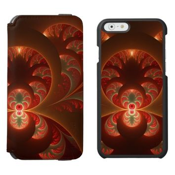 Luminous abstract modern orange red Fractal iPhone 6/6s Wallet Case