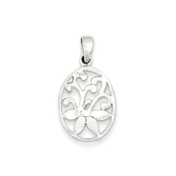Sterling Silver Polished Oval Filigree Flower Pendant