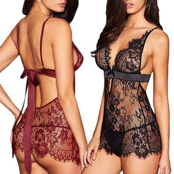 USA Women-Sexy-Lingerie-Lace-Dress-Underwear-Black-Babydoll-Sleepwear-G-string
