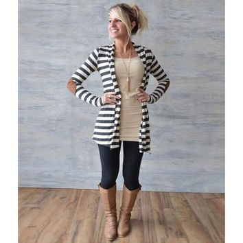 Women's Striped with Elbow Patches Pullover