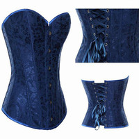 Sexy Corset Basque Tops Bustiers Boned Waist Lingerie Wedding Lace Up Back 1fF