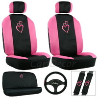 Dancing Hearts Pink Seat Cover 11 Pc Set